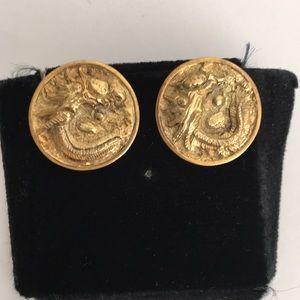 Dragon Stud Earrings Solid 14k Yellow Gold